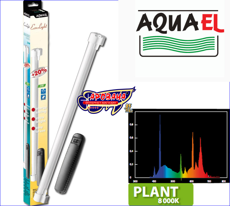 Aquael EcoLight Plant 24 Вт, - лампа для аквариума Aquael PEARL ECO 60, 80, купить лампу в Киеве - ИМ Арована, 066 000 0 769
