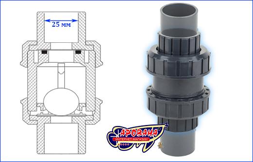 Шаровой обратный клапан AQUAXER, 25 мм.