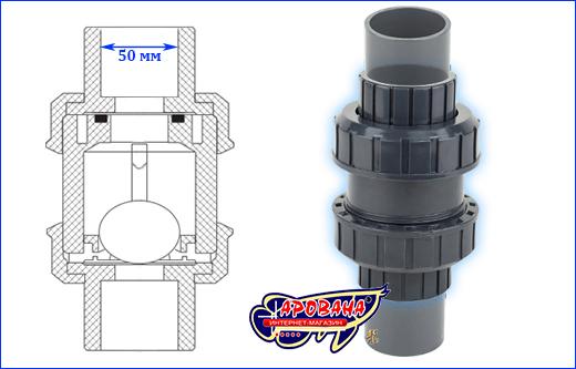 Шаровой обратный клапан AQUAXER, 50 мм.