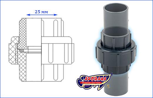 Муфта разборная (американка) AQUAXER, 25 мм.