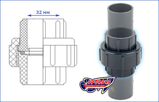 Муфта разборная (американка) AQUAXER, 32 мм.