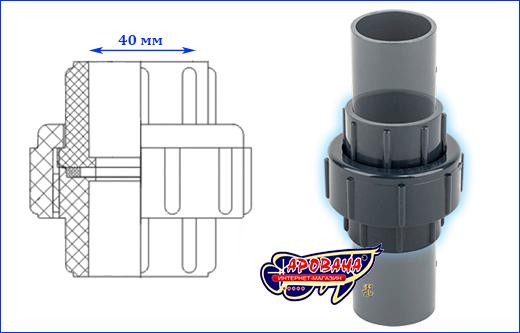 Муфта разборная (американка) AQUAXER, 40 мм.