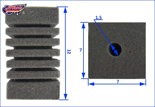 Размеры фильтрующей губки