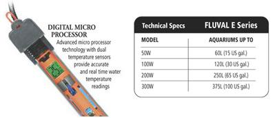 Электронный аквариумный  обогреватель Fluval E 300 Вт с VueTech технологией
