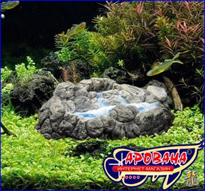 Hydor Ario 4 Blue + Geyser Large аквариумный компрессор с синей подсветкой и декорацией в виде гейзера.