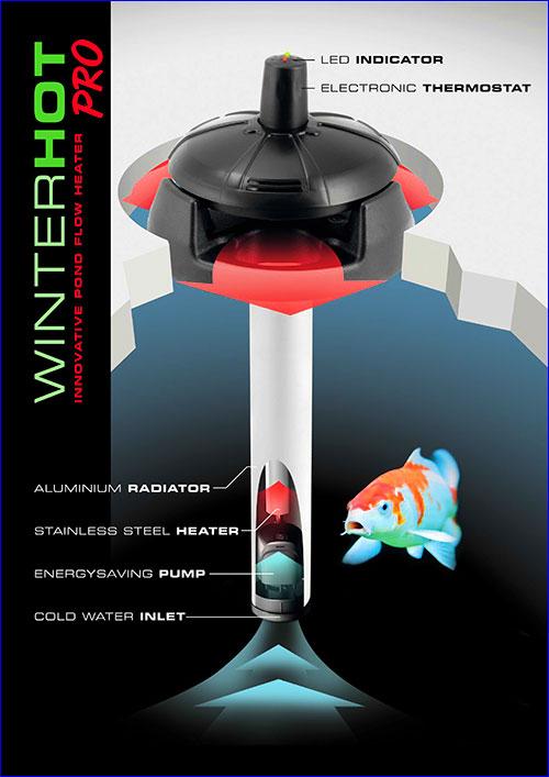 Aquael Winterhot Pro, 150 Вт - прудовый обогреватель мощностью 150 Вт в алюминиевом корпусе.