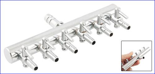 Металлический 6-ти канальный краник для аквариума.