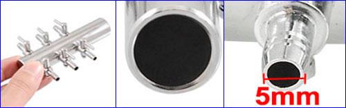Аквариумный 6-ти канальный краник с наружным диаметром 5 мм.
