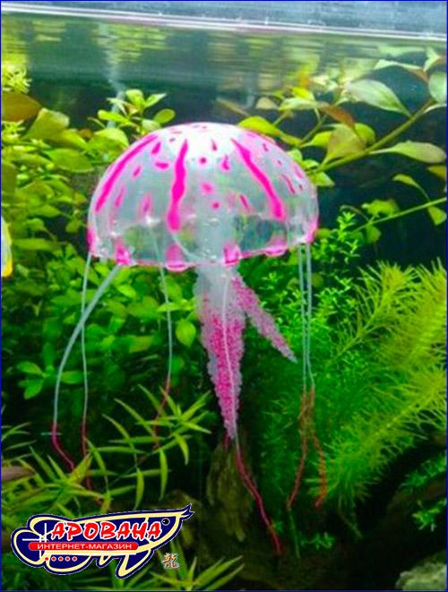 Декорация для украшения аквариума в форме медузы красного цвета.
