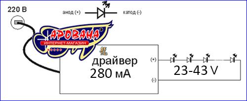Схема подключения драйвера к светодиодам