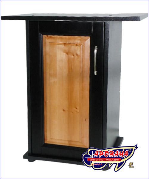 Дверка с вставкой цвета бук на чёрной тумбе.