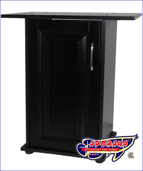 Дверка с вставкой чёрного цвета на чёрной тумбе.