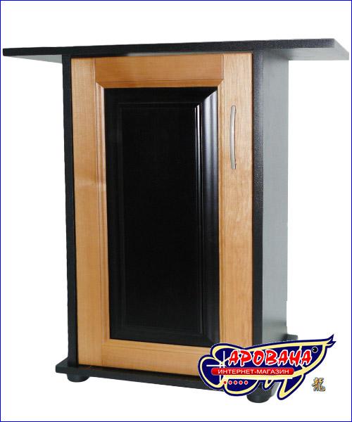 Дверка с вставкой чёрного цвета на тумбе чёрного цвета.
