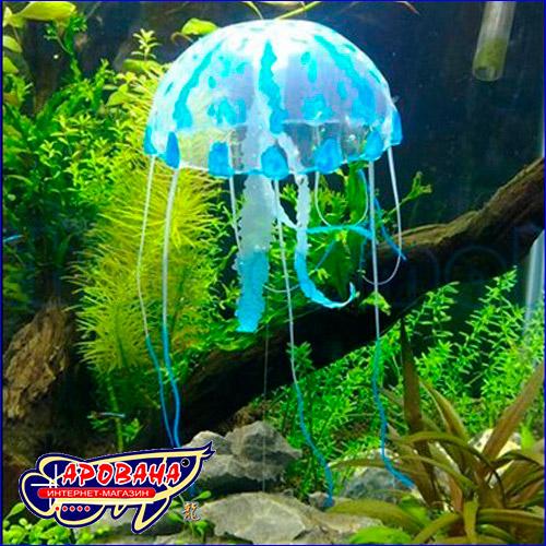 Искусственная аквариумная декорация в форме медузы синего цвета.