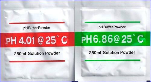 Пакетики для приготовления калибровочных растворов со значениями pH 4.01 и 6.86.