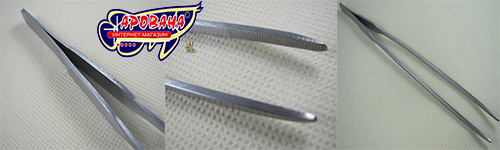 Ручка пинцета, зазубренная часть и общий вид.