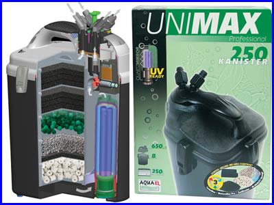 Фильтр внешний, Aquael UNIMAX 250 Plus, 650 л/ч.